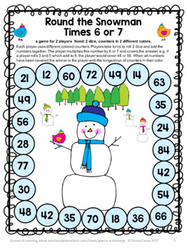Winter Activities: Snowman Math Games Multiplication and Division: Winter Math