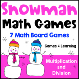 Winter Activities: Snowman Math Games Multiplication and Division