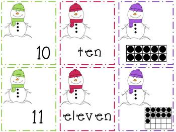 Snowman Math Matching Game (0-20)