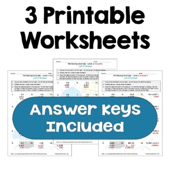 Winter Math: Multiplying Decimals Worksheets (Differentiated with 3 Levels)