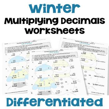 Winter Math: Multiplying Decimals Worksheets (3 Levels)