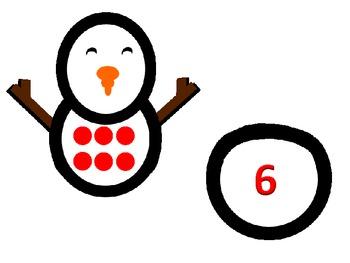 Winter Snowman Math Number Match