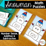 Snowman Math Puzzles - Number Sense, Addition, and Subtraction