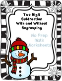 Snowman Math Regrouping and No Regrouping