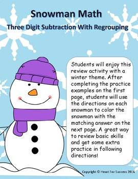 Snowman Math: Three Digit Subtraction With Regrouping