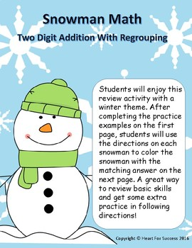 Snowman Math: Two Digit Addition With Regrouping