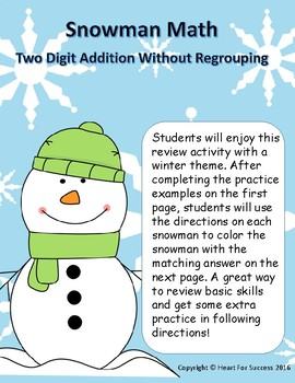 Snowman Math: Two Digit Addition Without Regrouping