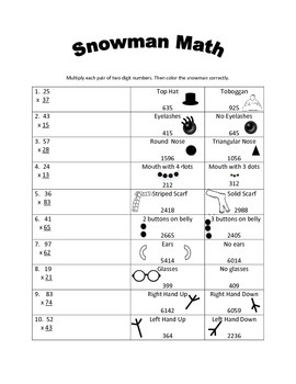 Snowman Math - Two Digit Multiplication