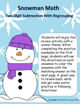 Snowman Math: Two Digit Subtraction With Regrouping