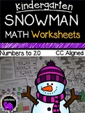 Snowman Math Worksheet Pack for Kindergarten