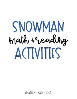 Snowman Math and Reading Activities