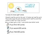 Snowman Melt Fry's Sight Word game