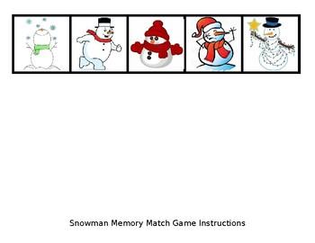Snowman Memory Match Game