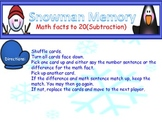 Snowman Memory subtraction facts to 20