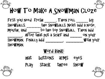 Snowman Mini Unit:  Math, Literacy, and Writing