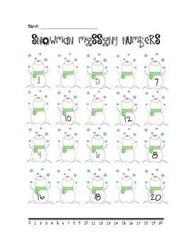 Snowman Missing Number- Kindergarten & First Grade
