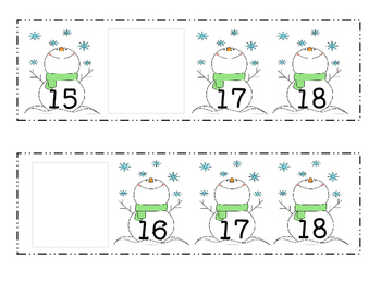 Snowman Missing Numbers 11-20