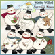 Snowman Mix Clip Art Bundle - 5 Colored Clip Art Sets