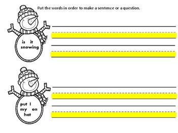 Snowman Mix and Fix Sentences