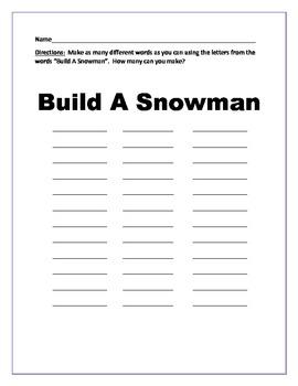 Snowman Mobile Winter Art Activity/Project
