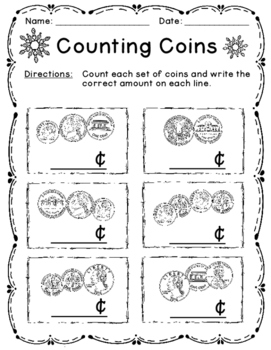 Counting Money Game, Worksheets, Anchor Chart, Make-Your-Own-Book