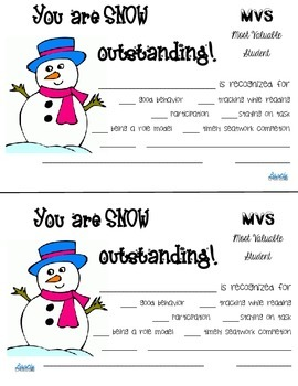 Snowman Most Valuable Student