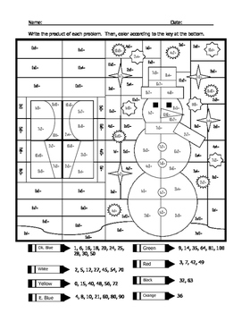 Snowman Multiplication Coloring Sheet