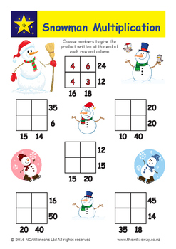 Snowman Multiplication Grids