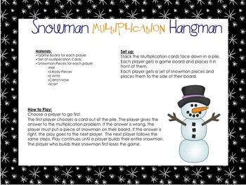 Snowman Multiplication Hangman