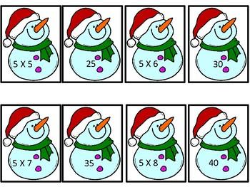 Snowman Multiplication Memory Game - Math Center Activity
