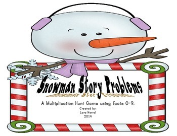 Snowman Multiplication Story Problem Hunt using Facts 0-9