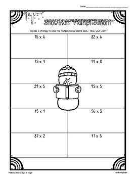 Snowman Multiplication Worksheet Pack! 3 sheets - 2x1, 2x2, 3x2