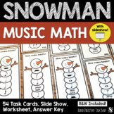 Christmas Music Activities- Snowman Music Math Task Cards