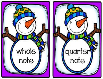Snowman Music Notes and Rests Packet