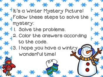 Snowman Mystery Picture Place Value