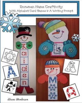 Snowman Name Craft with Alphabet Card Games & A Writing Prompt