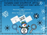 Snowman Name Generator and Writing Activity, Snowflake Mystery Sight Word Find