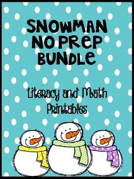Snowman No Prep Literacy and Math Sheets