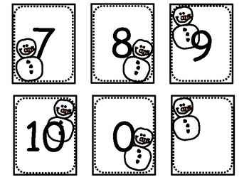 Snowman Number Cards with 4 Differentiated Partner & Independent Math Games!