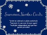 Snowman Number Cards with 4 Differentiated Partner & Indep