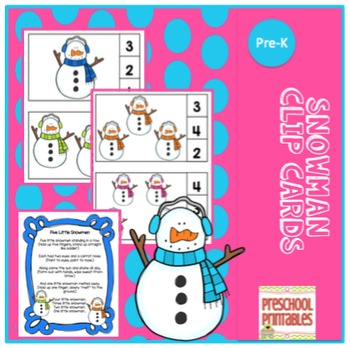 Snowman Number Clip Cards