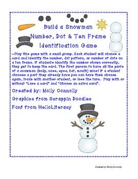 Snowman Number, Dot, & Ten Frame Identification Game