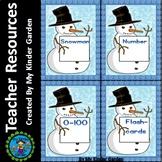 Snowman Math Number Flashcards 0-100