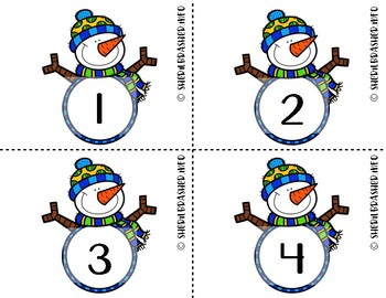 Snowman Number Fluency Cards | English | 1-10