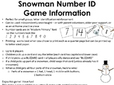 Snowman Number ID game