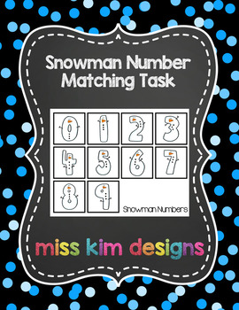 Snowman Number Matching Folder Game for Early Childhood Special Education