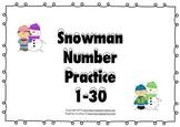 Snowman Number Practice 1-30