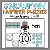 Winter Activity for Kindergarten Number Sense 1-10 Snowman Puzzles