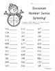 Snowman Number Sense Spinning Activity--Leveled--2 sheets