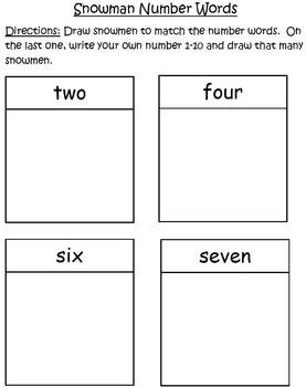 Snowman Number Words Practice